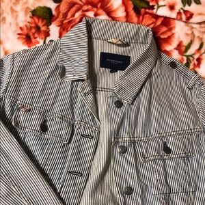 Burberry London Railroad Stripe Denim Jacket In Blue & White